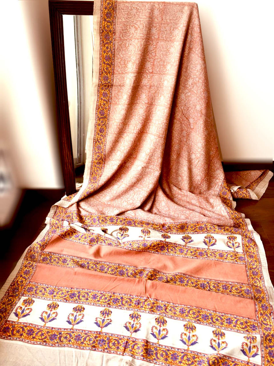 040cd4631f Block Printed Tussar Matka Silk Saree in Peach Pink Motifs 7 ...