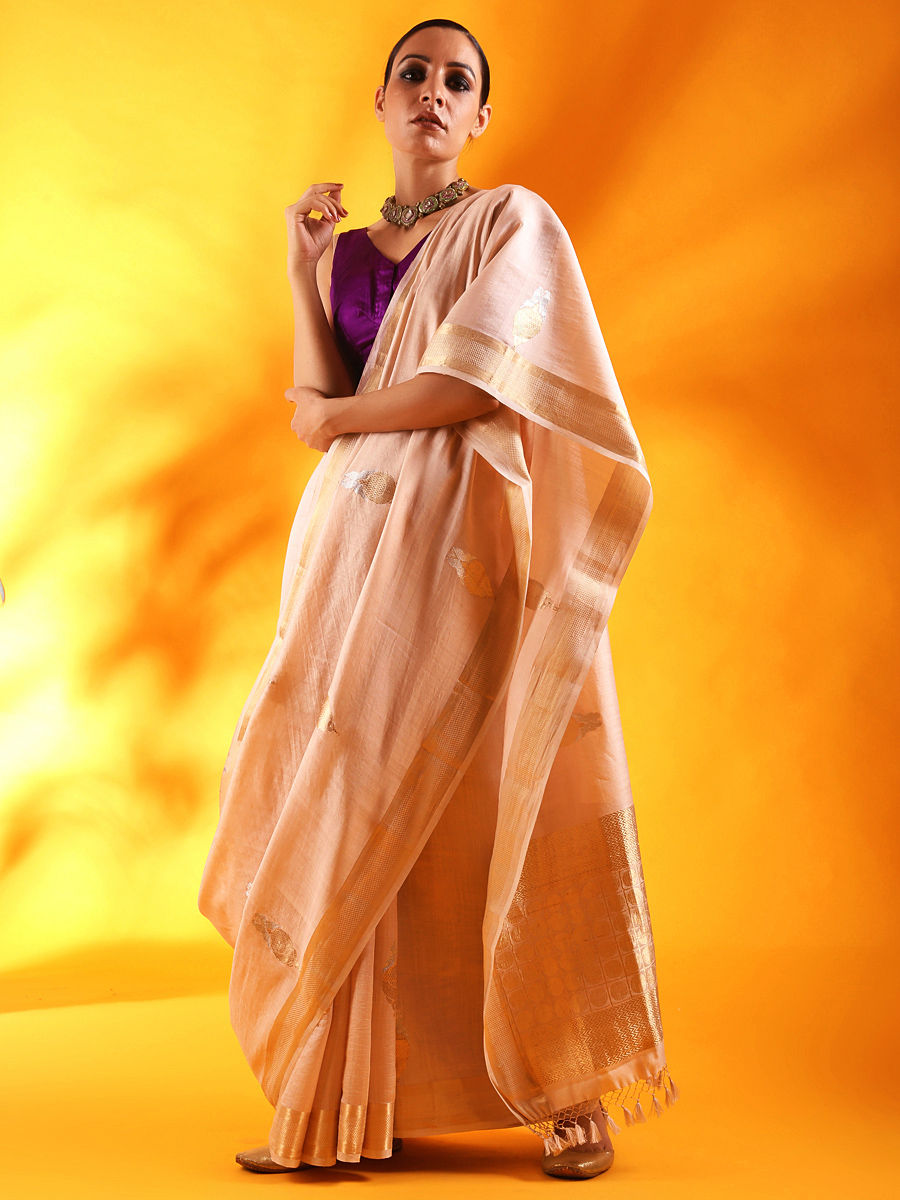dcaf1b49ac Pale Pink Silk Saree with Floral Motifs and Border ...