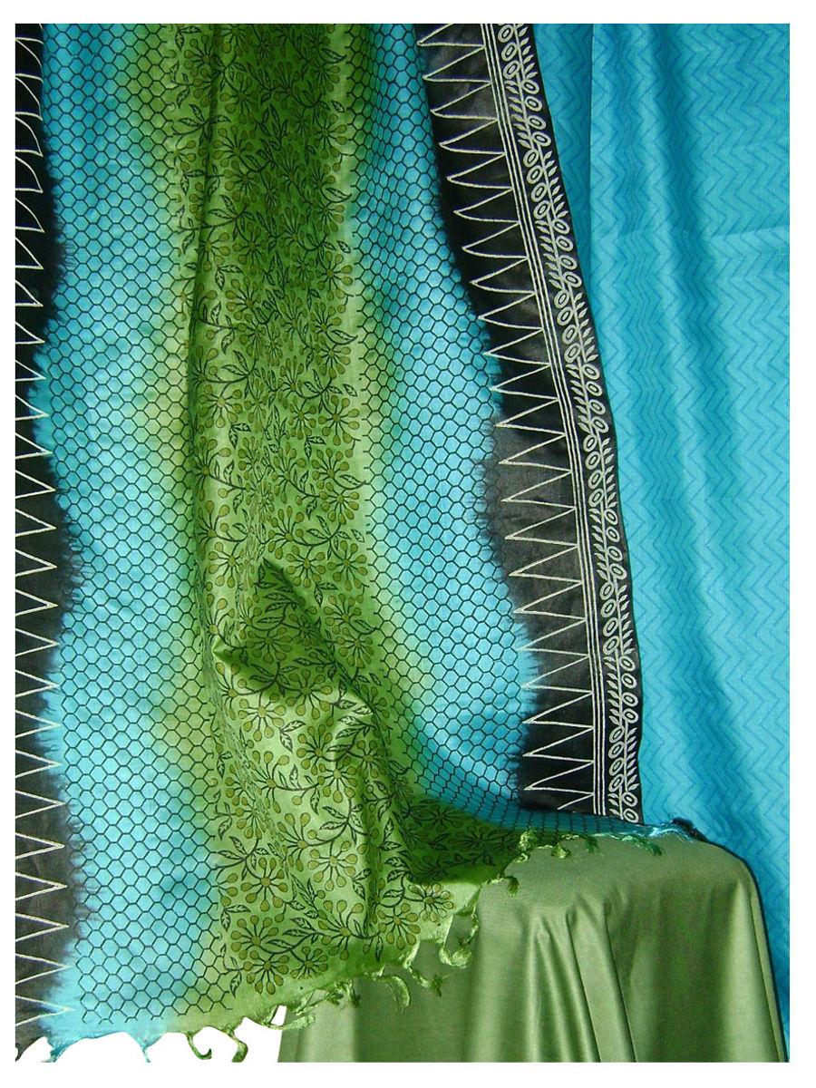 bb827fb839 Home · Printed Tussar Silk Suit Material Blue34 · Zoom · Printed ...