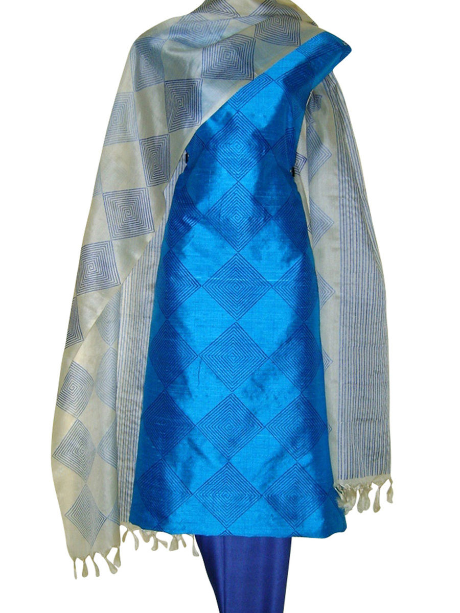 2db100b2d3 Home · Printed Tussar Silk Suit Material Blue42 · Zoom · Printed ...