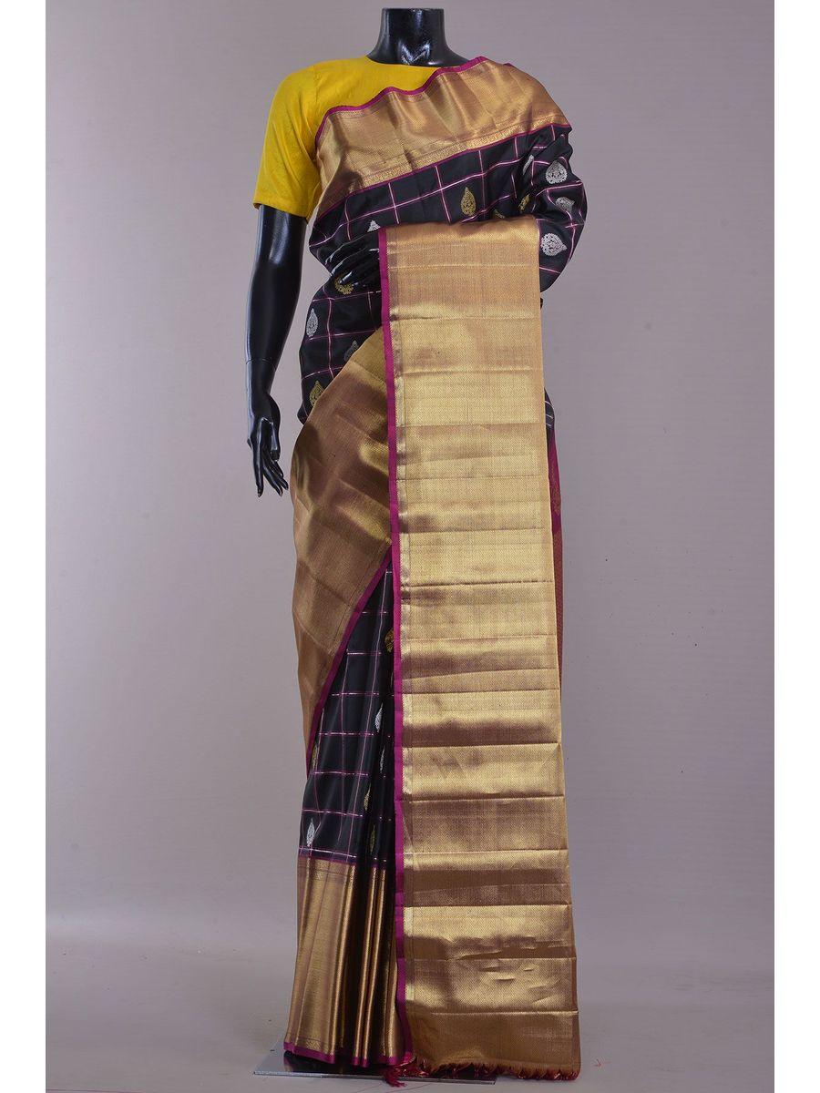 Black Golden Pure Gadwal Silk Saree - Handloom