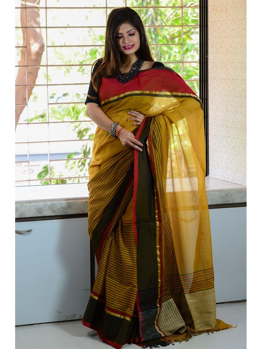 c667d4243e Soft Pure Ghicha Cotton Gamcha Handloom Saree