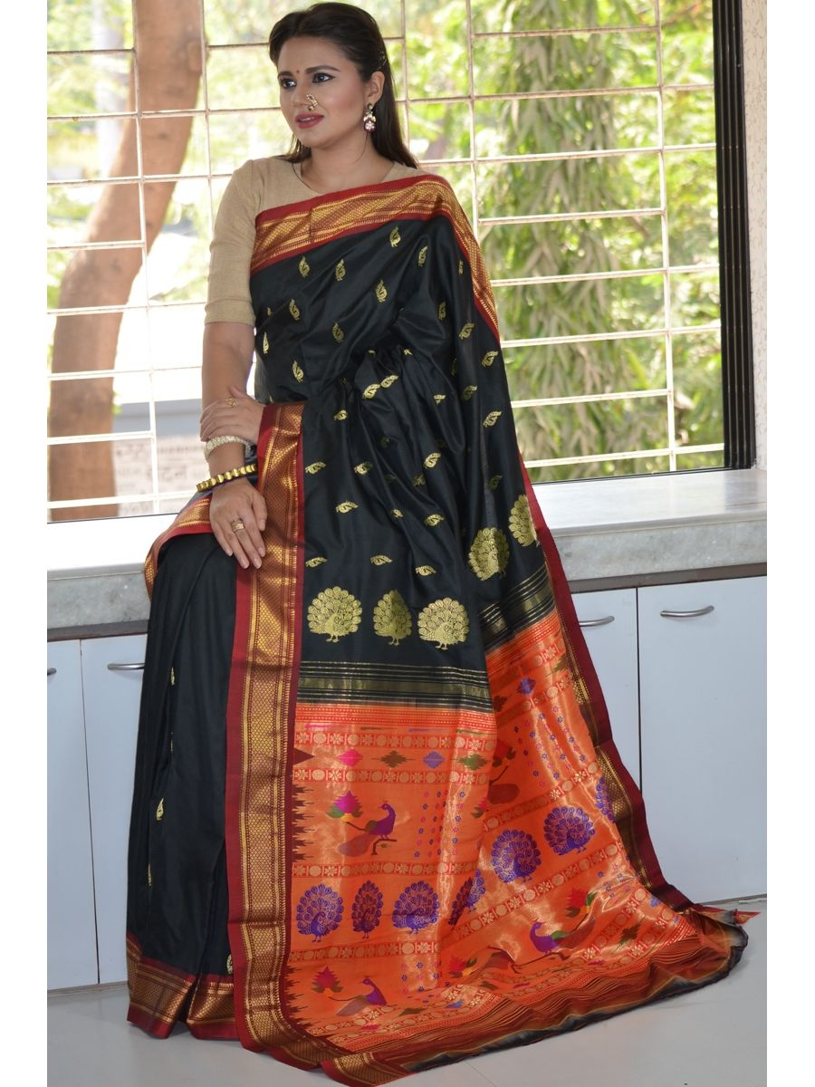 61a51e7d80 Black Traditional Narali Border Peacock Designed Woven Pure Silk ...