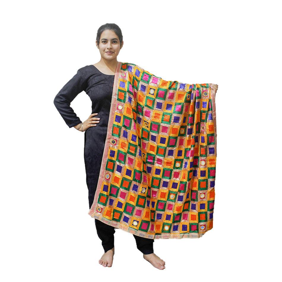 Multi Colour Phulkari Bagh with Mirror