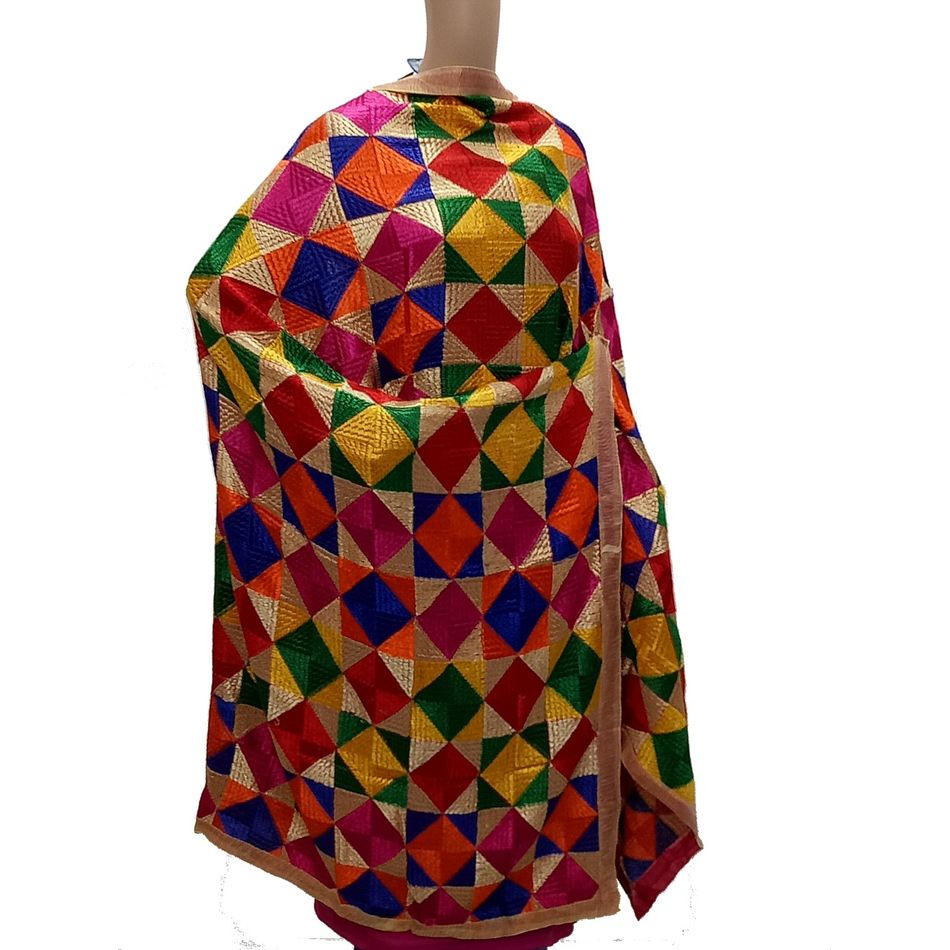 Multi Coloured -Pure Chiffon Phulkari Bagh