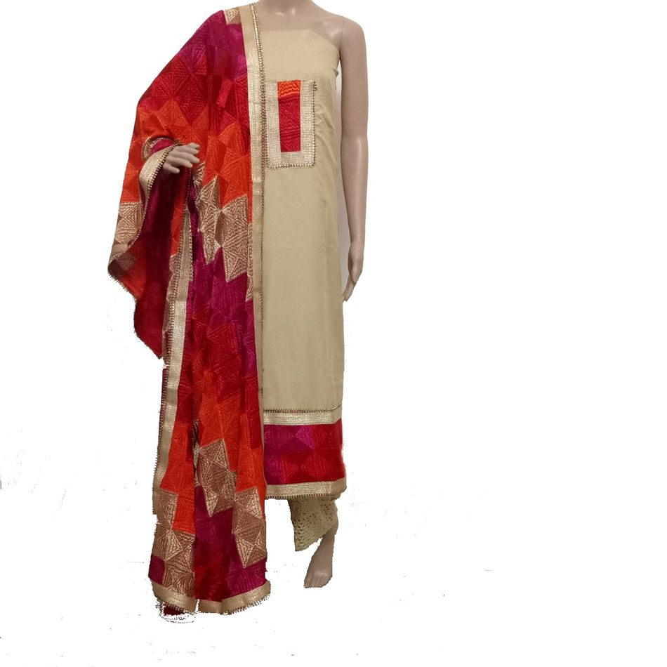 Cream- Phulkari Suit