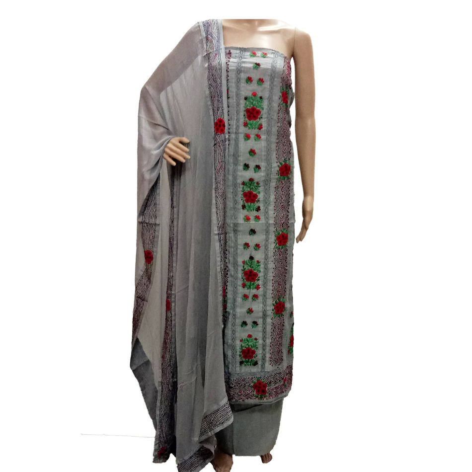 French Knot Embroidery Suits - Grey