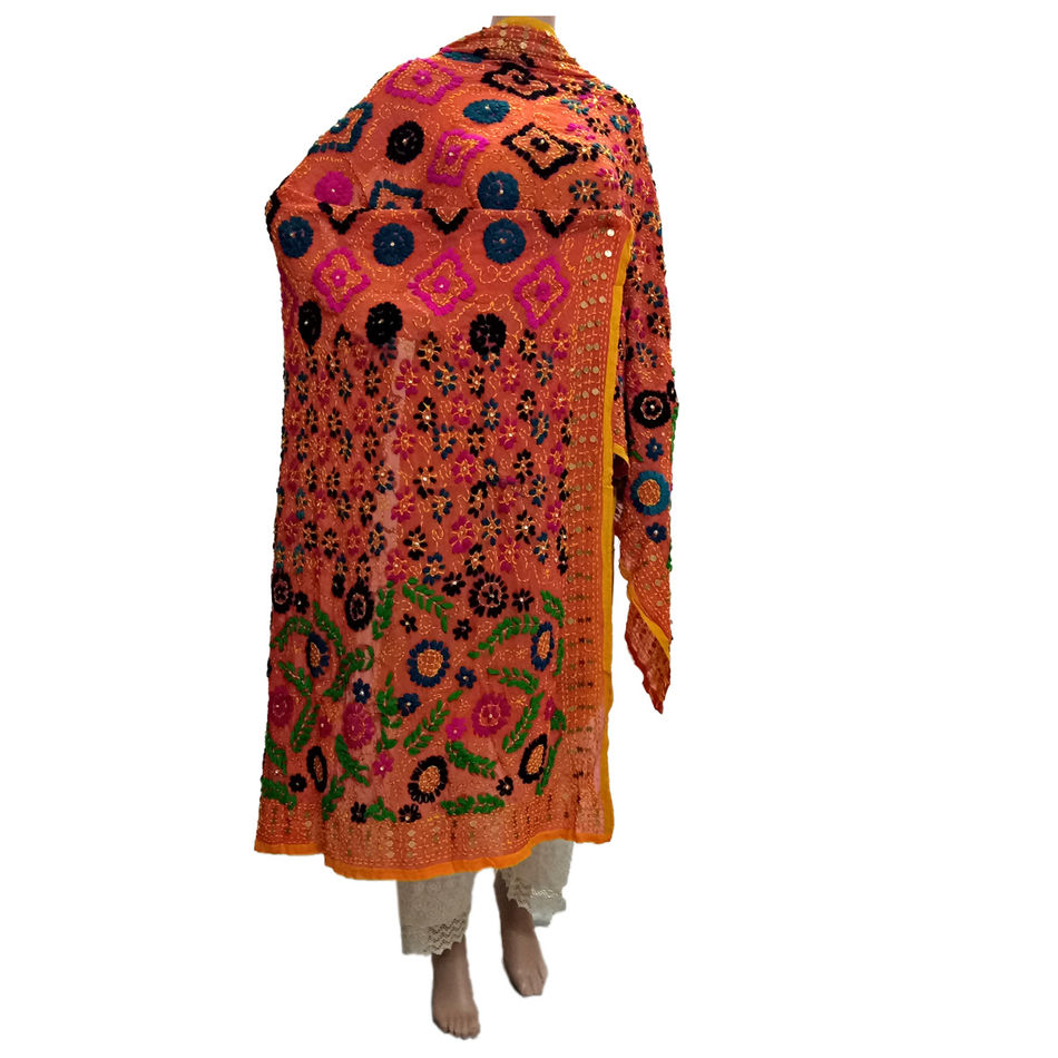 Multi Colour Georgette Phulkari Dupatta