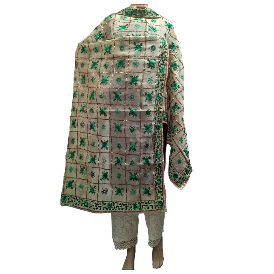 Cream- Green Chanderi Dupatta with Handwork Emb. & Gotta Work
