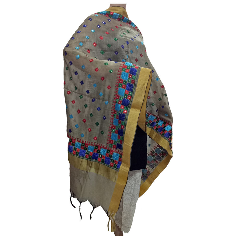 Grey Handicraft Phulkari Dupatta