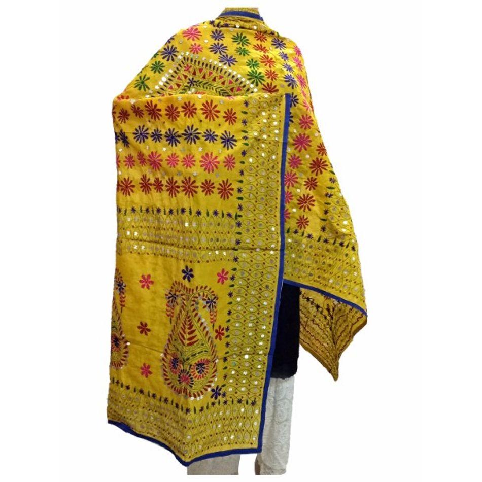 Yellow Handicraft Kantha Dupatta