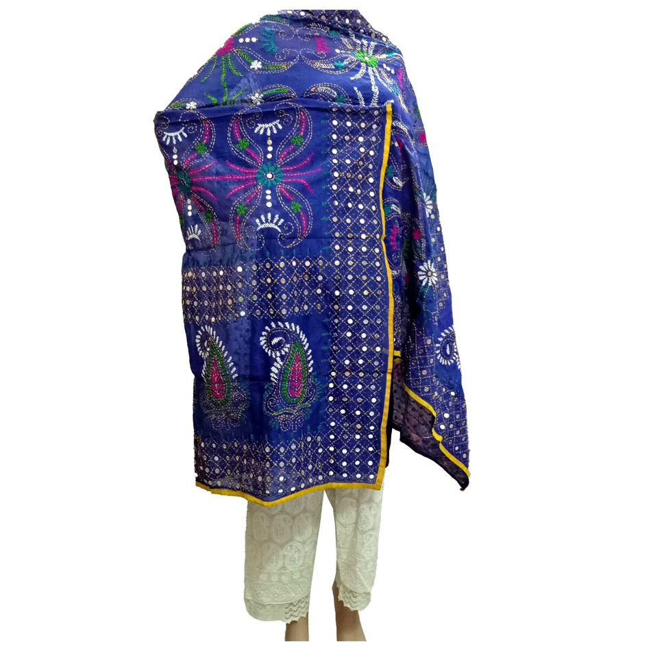 Blue Kantha Handicraft Dupatta