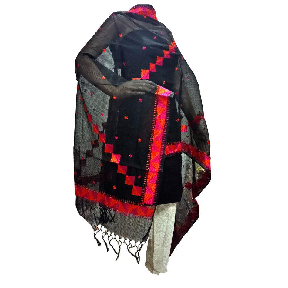 Black Kota Silk Handicraft Dupatta