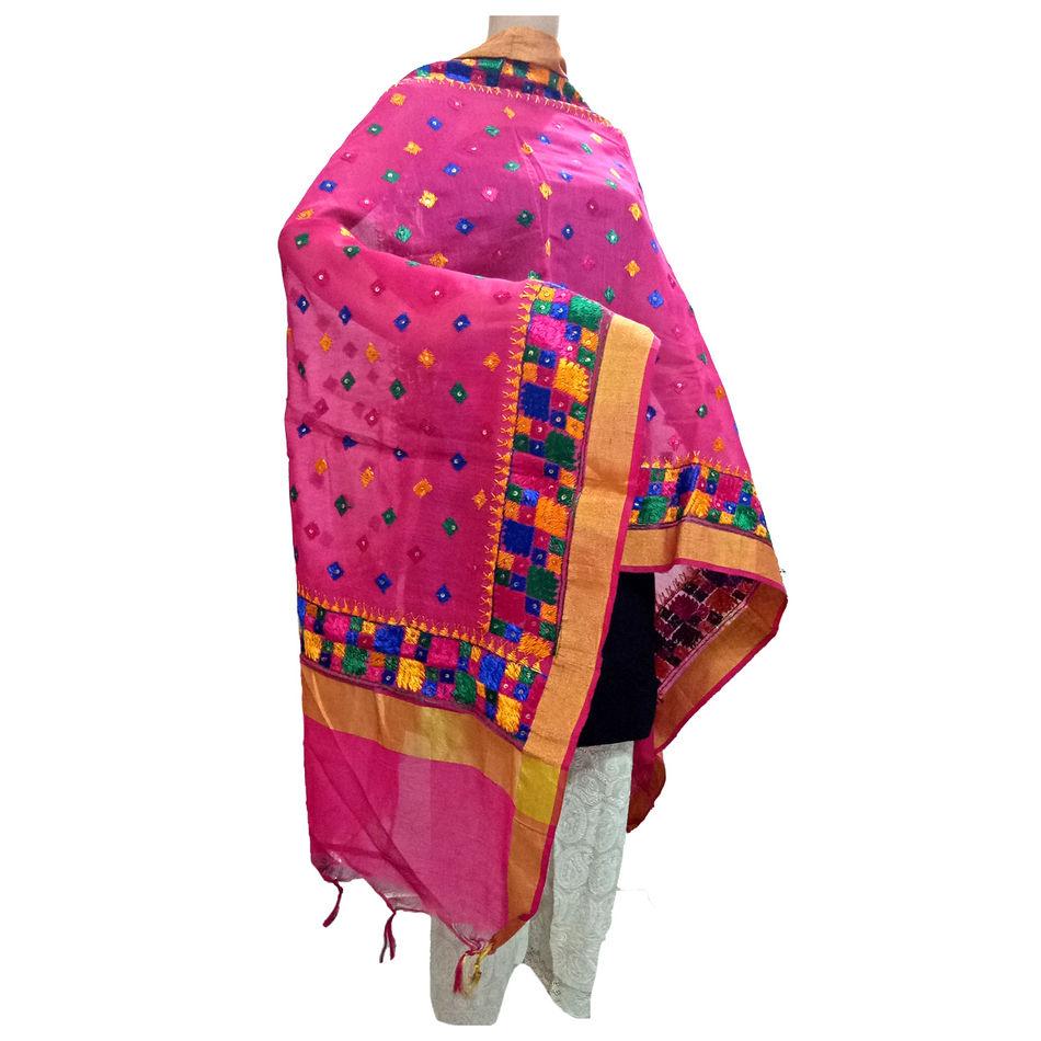 Pink Kota Silk Phulkari Handicraft Dupatta