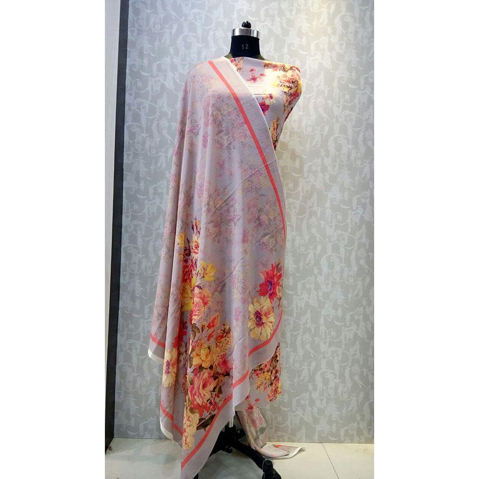 Beige Colour - Floral Print Pure Chinon Fabric Suits