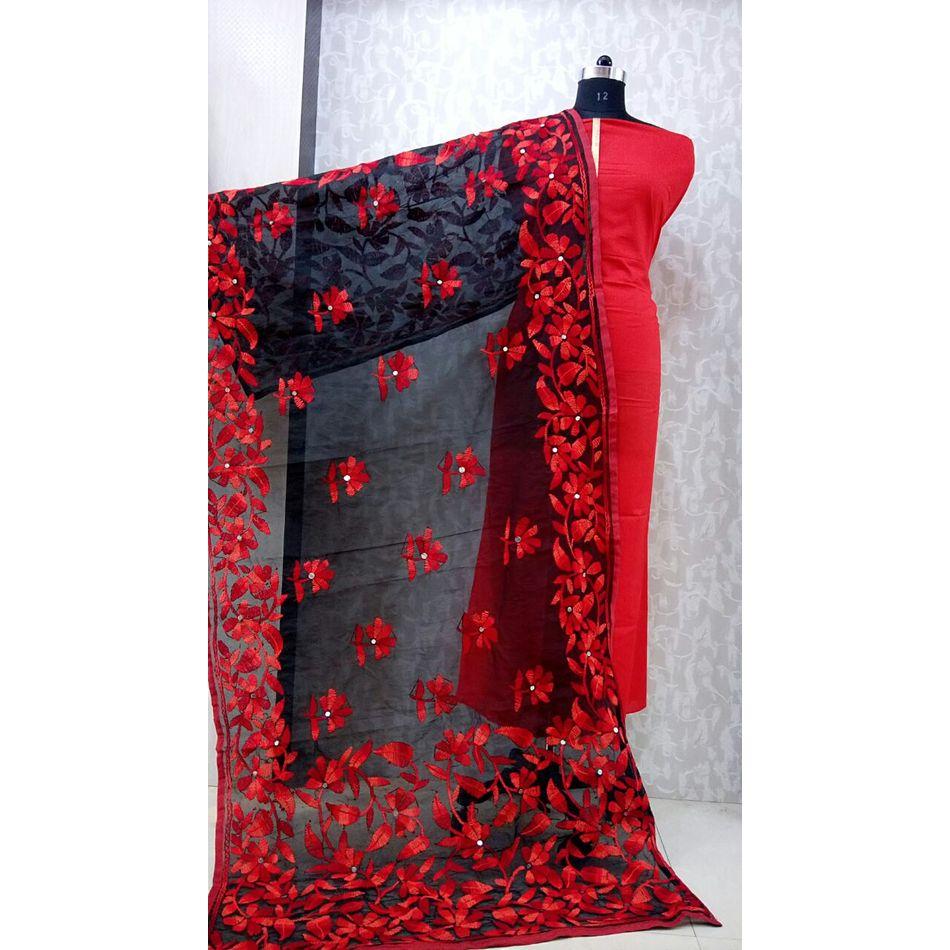 Red Black - Phulkari Dupatta