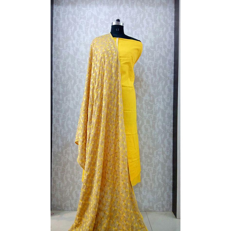 Yellow - Phulkari Chinnon Dupatta