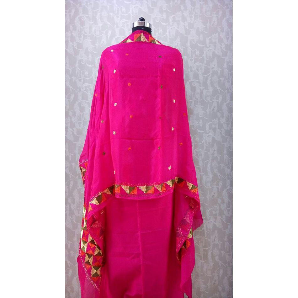 Pure Chinnon Phulkari Hand- Craft Dupatta