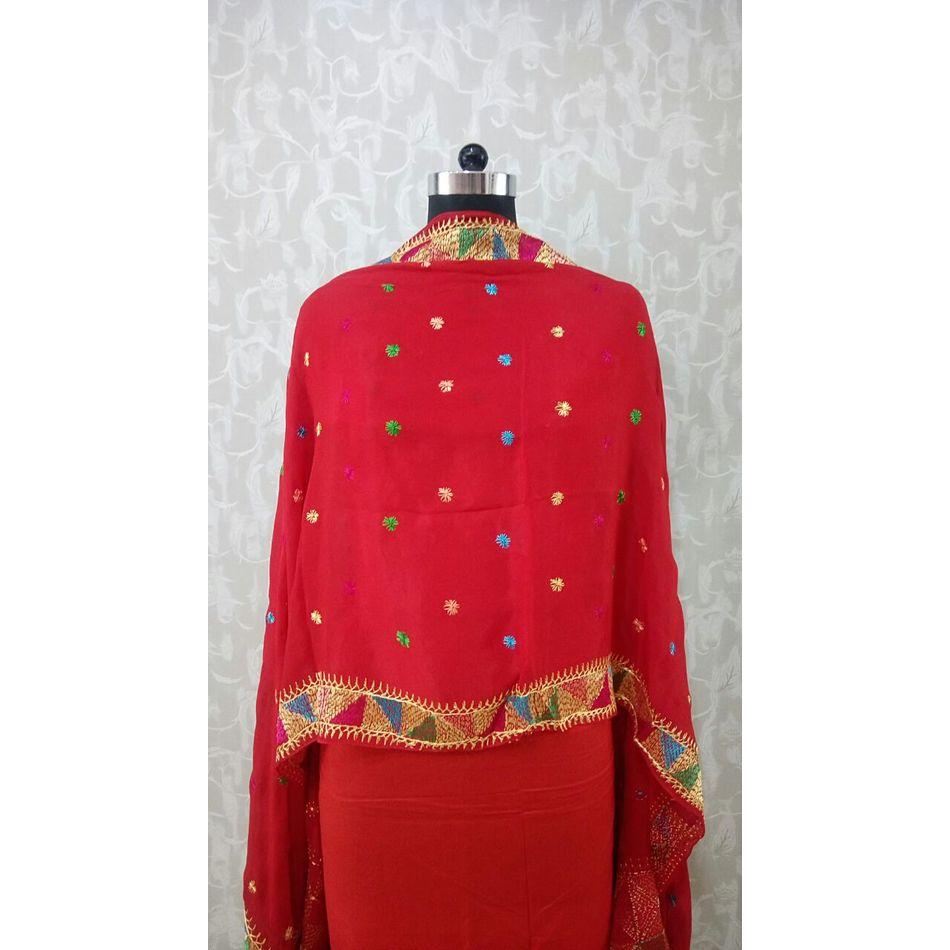 Red - Pure Chinnon Phulkari Hand- Craft Dupatta