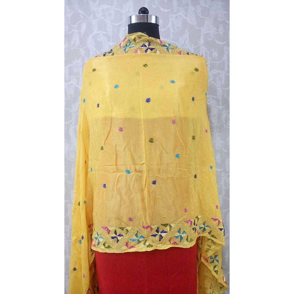 Light Yellow -Pure Chinnon Phulkari Hand- Craft Dupatta