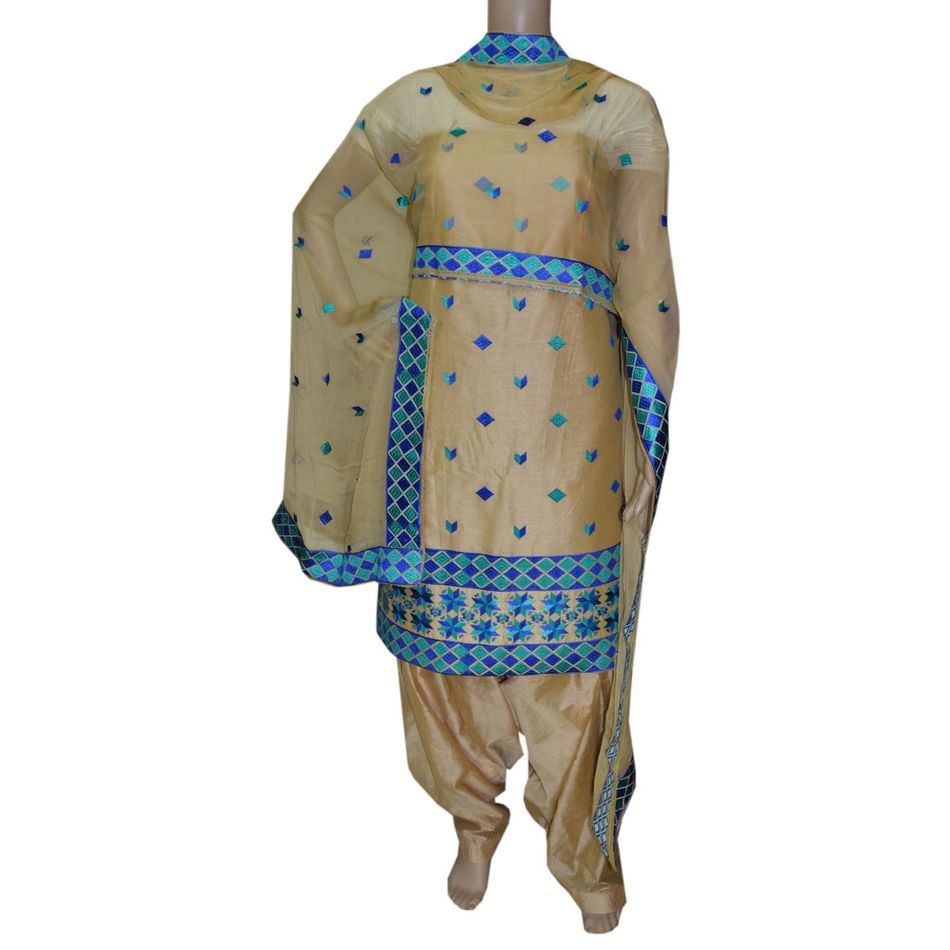 Phulkari Cotton   Silk Suit