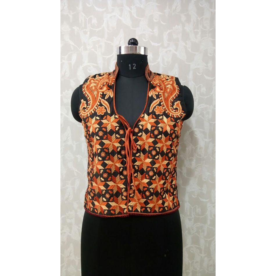 Brown Phulkari Jacket