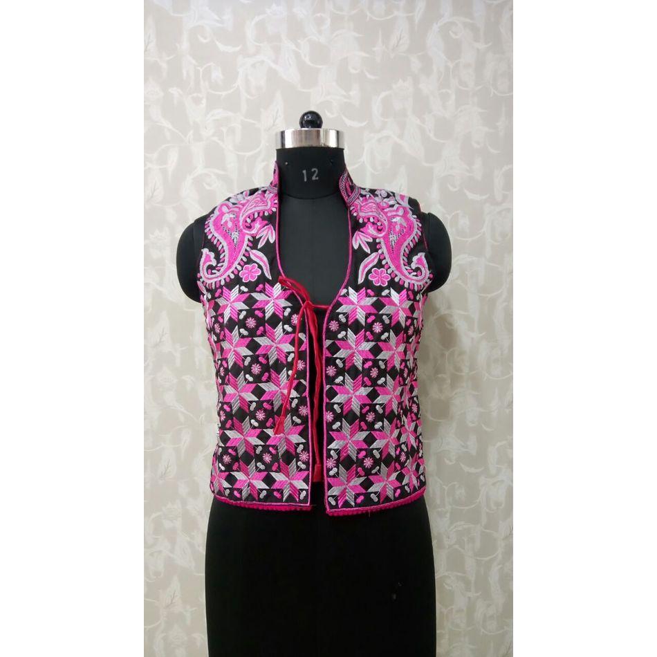 Pink Grey Phulkari Jacket
