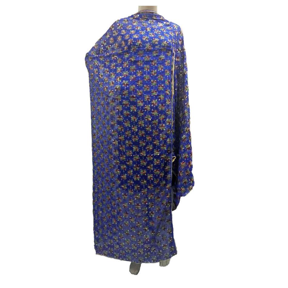 Blue Kanchan Phulkari Dupatta