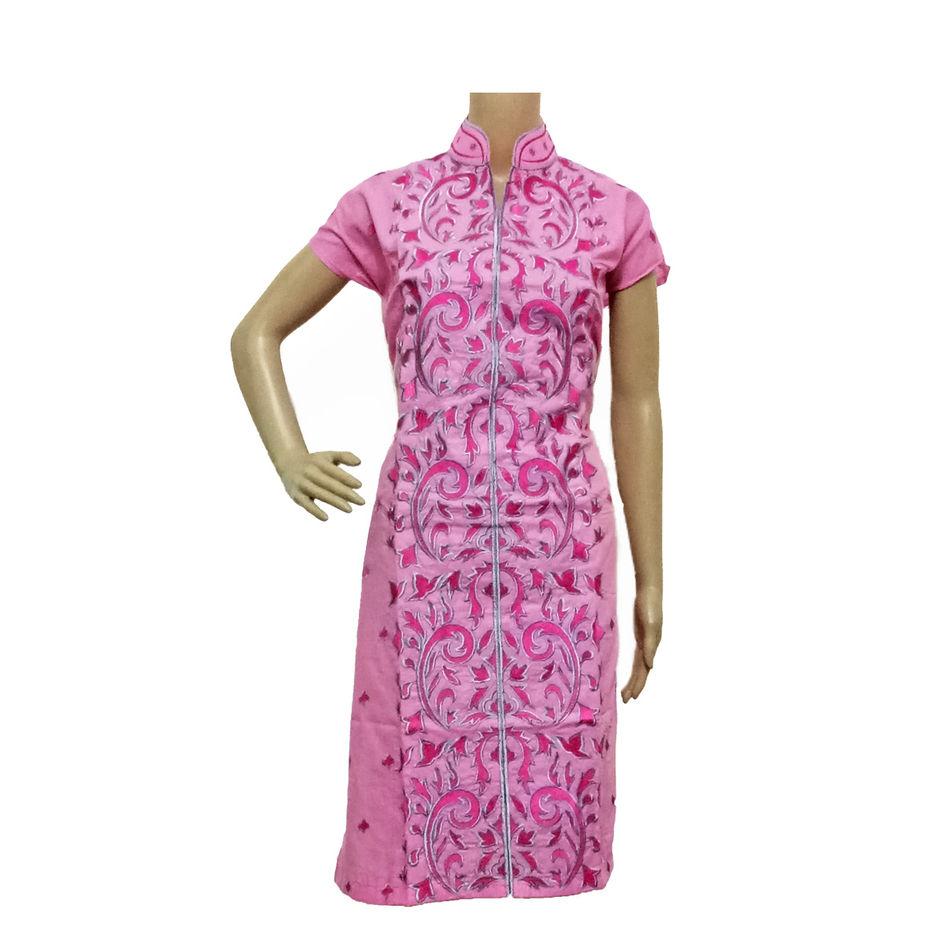 Phulkari Kurti Light Pink
