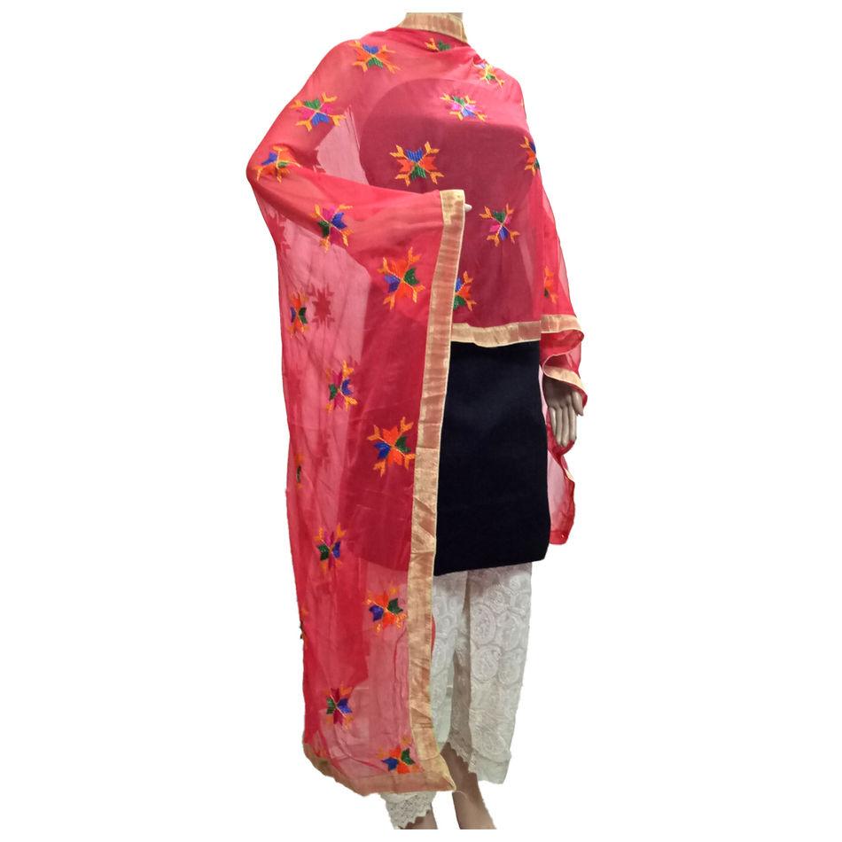 Bright Red Phulkari Dupatta