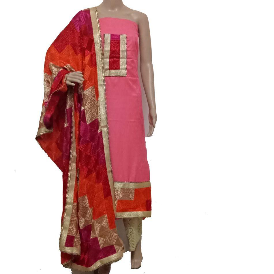 Pink - Phulkari Suit