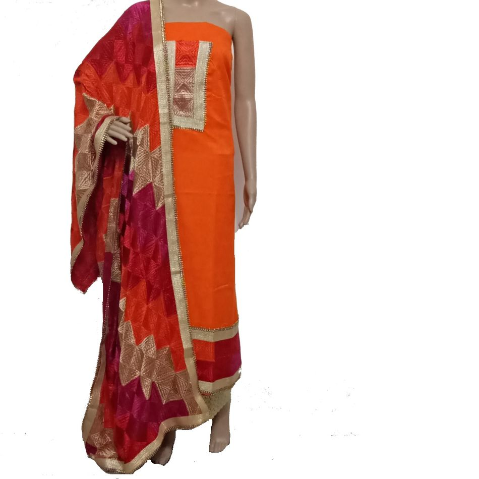 Orange Phulkari Suit
