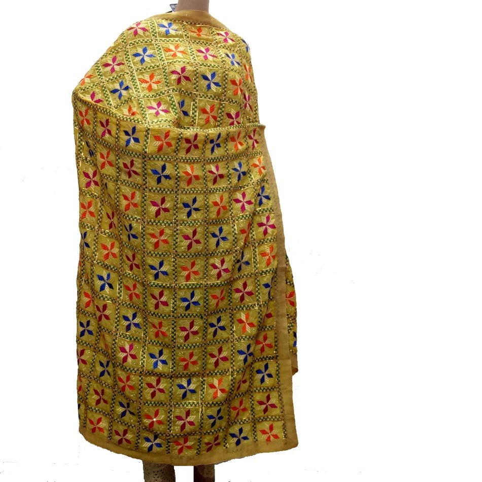 Phulkari Bagh Dupatta -  Yellow