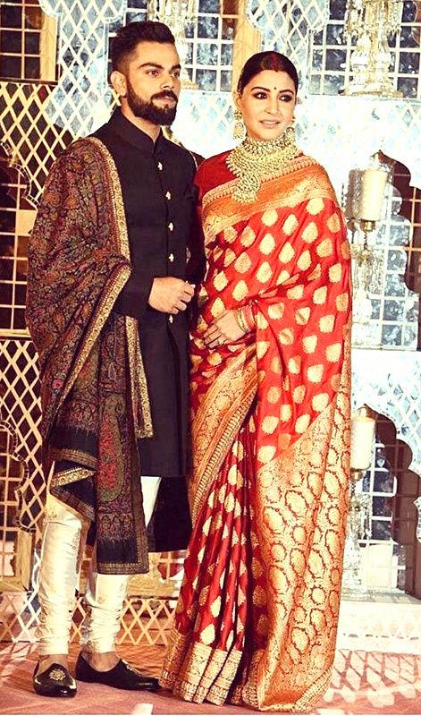 Anushka Sharma in Red Banarasi Silk sari