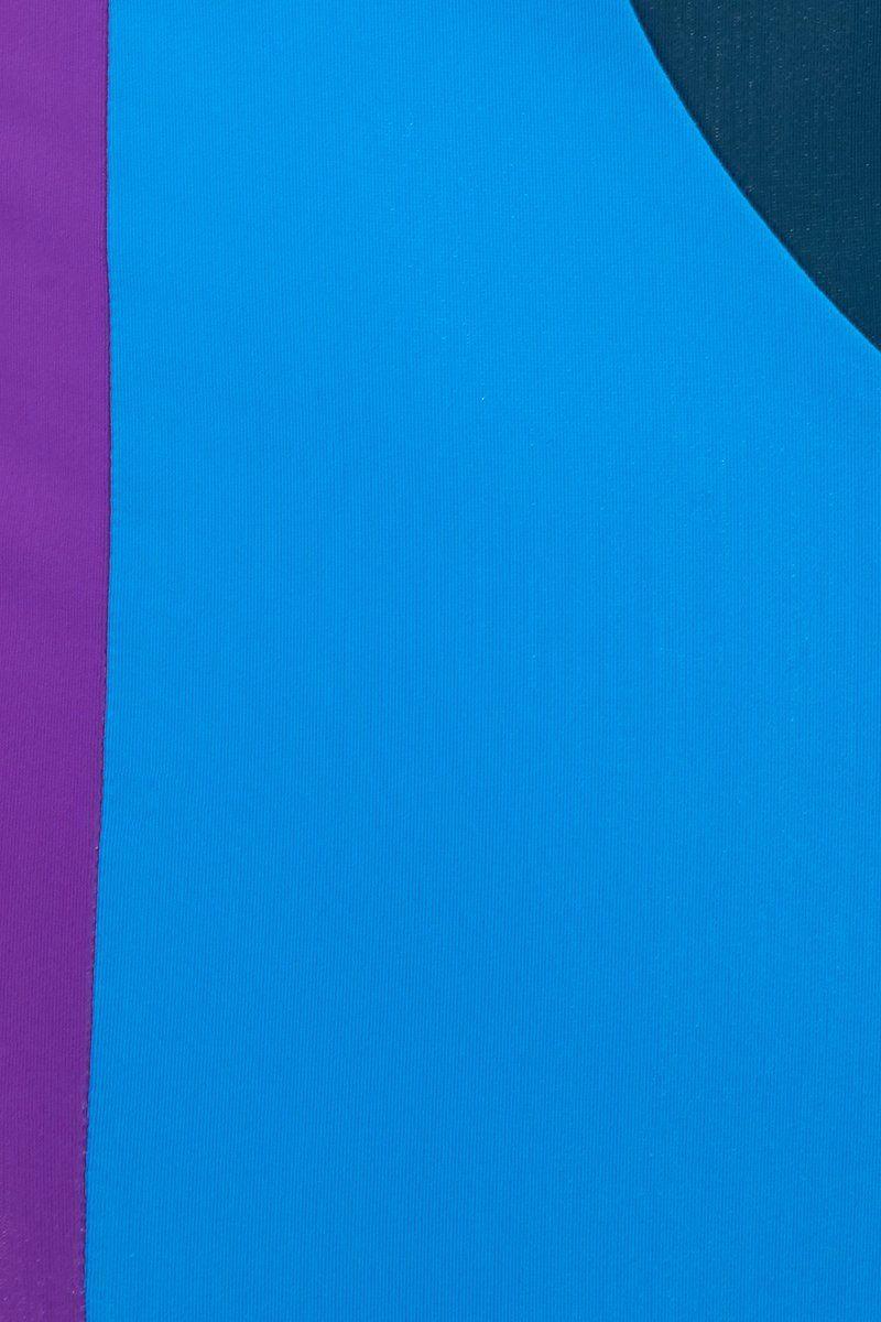 MARA HOFFMAN Abigail Bandeau Top - Abacus Geometric Print Bikini Top | Abacus Geometric Print| Front view of Mara Hoffman Abigail Bandeau Top with back knot tie closure close up knot detail