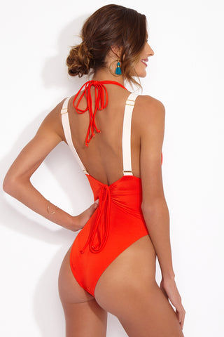 HOT AS HELL Get Waisted Bottom - Blood Orange Bikini Bottom | Blood Orange| Hot As Hell Get Waisted One Piece Back View With Suspenders On Suspender Style Straps  Lace Up Front Detail  High Cut Leg  Cheeky Coverage
