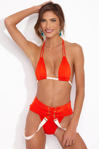HOT AS HELL Get Waisted Bottom - Blood Orange Bikini Bottom | Blood Orange| Hot As Hell Get Waisted One Piece Front View With Suspenders Down Suspender Style Straps  Lace Up Front Detail  High Cut Leg  Cheeky Coverage