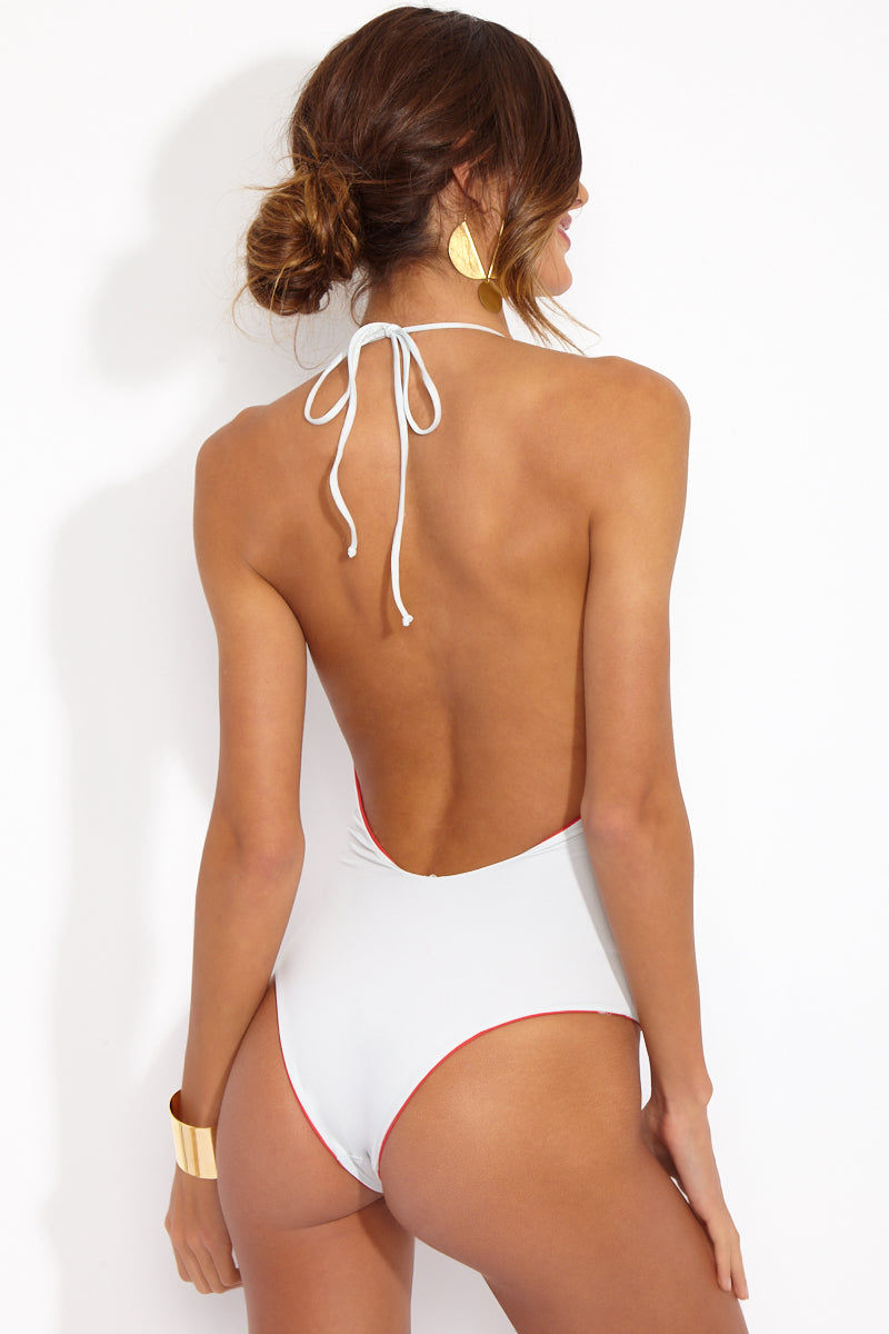 TAVIK The Chase Reversible Low Cut One Piece - Hibiscus Color Blocking/White One Piece | Hibiscus Color Blocking/White| The Chase Reversible Low Cut One Piece in Hibiscus Color Blocking/White  Back Side View of White. Cheeky coverage and low cut back.