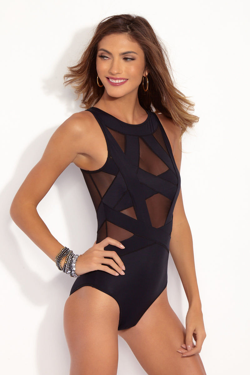 OYE SWIMWEAR Esther Mesh Cut Out One Piece Swimsuit - Black One Piece | Black| OYE Swimwear Esther Mesh Cut Out One Piece Swimsuit - Black. Geometric. black mesh and microfiber criss-cross one piece swimsuit. High neckline with thick straps provides full coverage while showing off your shoulders. Strategic cutouts cover where you need and drop hints where you want. Easy pull-on design and comfortable high-quality Italian fabric make the one piece swimsuit suitable for all-day wear.