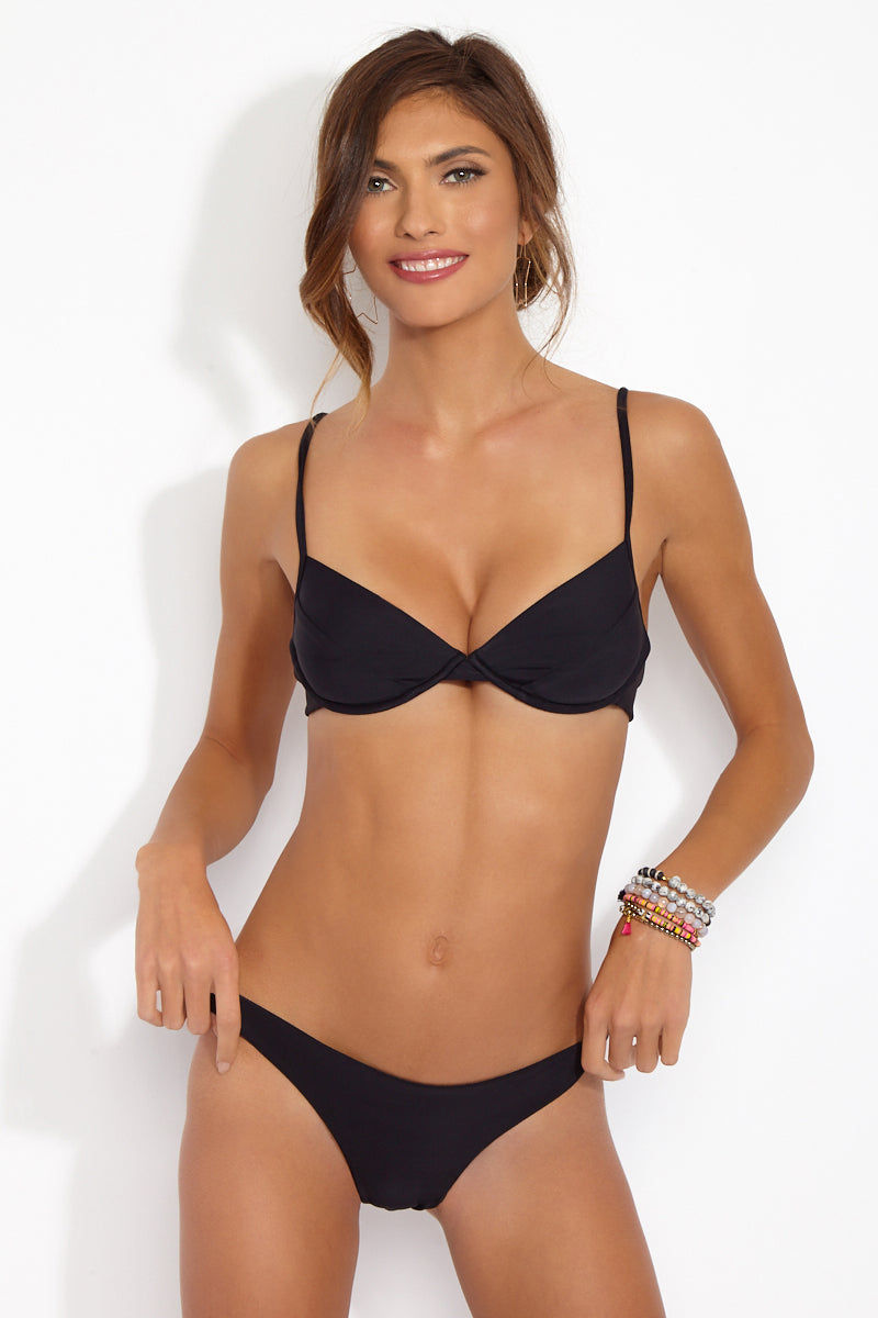 CAMI AND JAX Black Heidi Underwire Bra Top Bikini Top | Black| Cami and Jax Black Heidi Underwire Bra Top Front View Bra Style Bikini Top Underwire Cups Adjustable Shoulder Straps Fully Lined