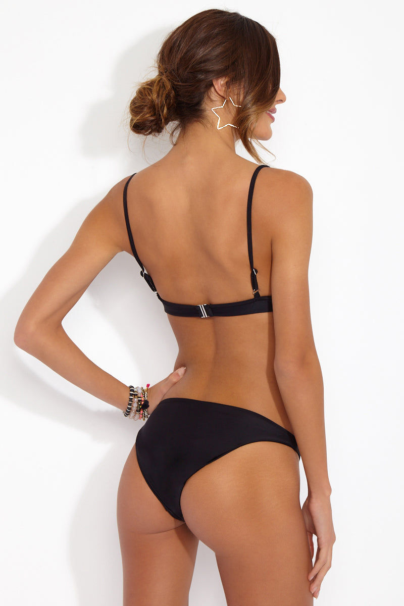 CAMI AND JAX Black Cindy High Cut Bottom Bikini Bottom | Black| Cami and Jax Black Cindy High Cut Bottom Back View Features:  High Cut Leg  Cheeky Coverage Fully lined