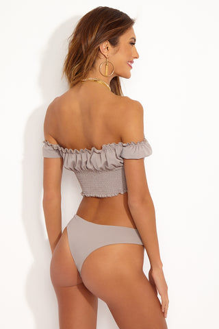 CHLOE ROSE Princess Smocked Off Shoulder Button Up Crop Bikini Top - Taupe Brown Bikini Top | Taupe| Chloe Rose Princess Smocked Off Shoulder Button Up Crop Bikini Top - Taupe Brown  Crop Bikini Top Princess Sleeves Off Shoulder Button Up Front Smocking under bust Lined upper portion Back View
