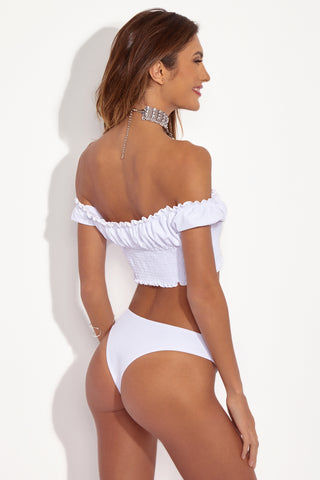 CHLOE ROSE Princess Off Shoulder Bikini Crop Top - White Bikini Top | White| Chloe Rose Princess Off Shoulder Bikini Crop Top - White  Back Side View Crop Bikini Top Princess sleeves off shoulder smocking under bust lined upper portion