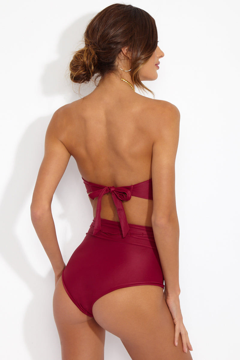 CAMI AND JAX Bordeaux Gidget Bandeau Top Bikini Top   Bordeaux  Cami and Jax Bordeaux Gidget Bandeau Top Back View Bandeau Bikini Top Delicate Slit Detailing Thick Back Tie Fully Lined