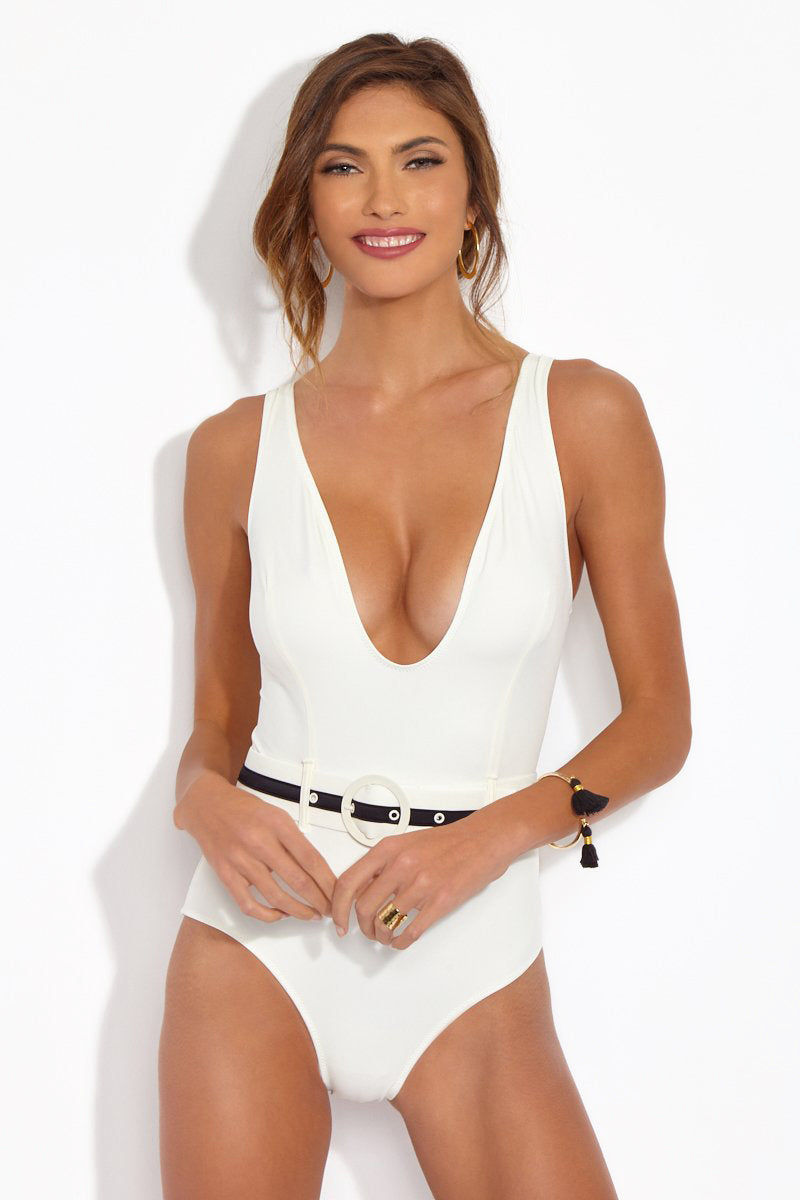 SOLID & STRIPED The Victoria Belted One Piece Swimsuit - Cream One Piece | Cream| Solid & Striped The Victoria One Piece Deep v neckline cream one piece with cream and black horizontal striped buckle. High cut and moderate coverage design.