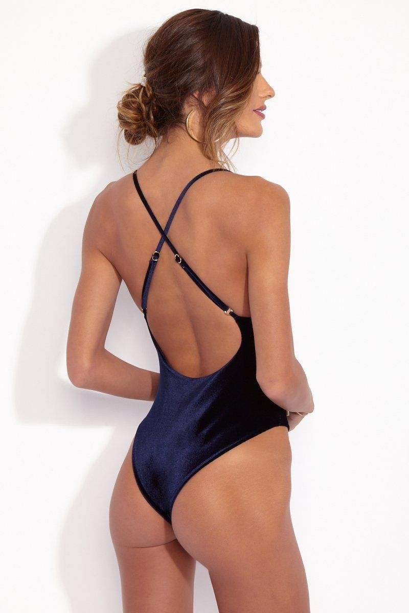 DBRIE The Dita Reversible Lace Up One Piece - Midnight Blue Velvet/Sapphire Lycra One Piece | Midnight Blue Velvet/Sapphire Lycra| Back View of Convertible Lace Up Front Metallic Cord Ties Criss Cross Back Adjustable Straps Low Scoop Back High Cut Leg Cheeky Coverage Reversible Sapphire Blue Velvet / Lycra