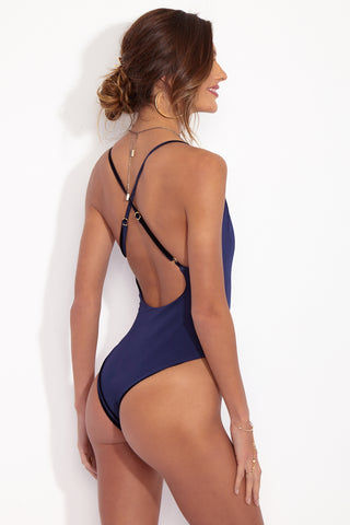 DBRIE The Dita Reversible Lace Up One Piece - Midnight Blue Velvet/Sapphire Lycra One Piece | Midnight Blue Velvet/Sapphire Lycra| dbrie The Dita One Piece - Reversible Midnight