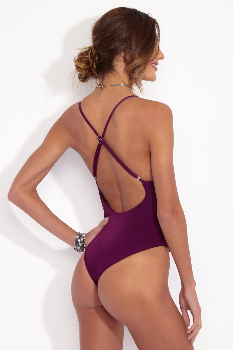 DBRIE The Dita Lace Up One Piece - Amethyst Purple One Piece | Amethyst Purple| dbrie The Dita One Piece back view in amethyst purple with metallic lace up strings, criss cross adjustable back, high cut leg, and cheeky coverage | dbrie The Dita One Piece - Merlot