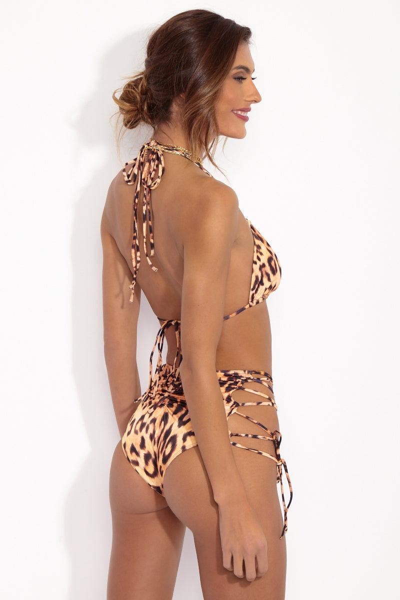 WE ARE HAH Hi-Kini Lace-Up Bikini Bottom - Lanka Leopard Bikini Bottom | Lanka Leopard| Hot As Hell Animal Print Hi-Kini Bottom Back View High Waisted Bikini Bottom  Lace Up Side Details  Adjustable  Cheeky Coverage