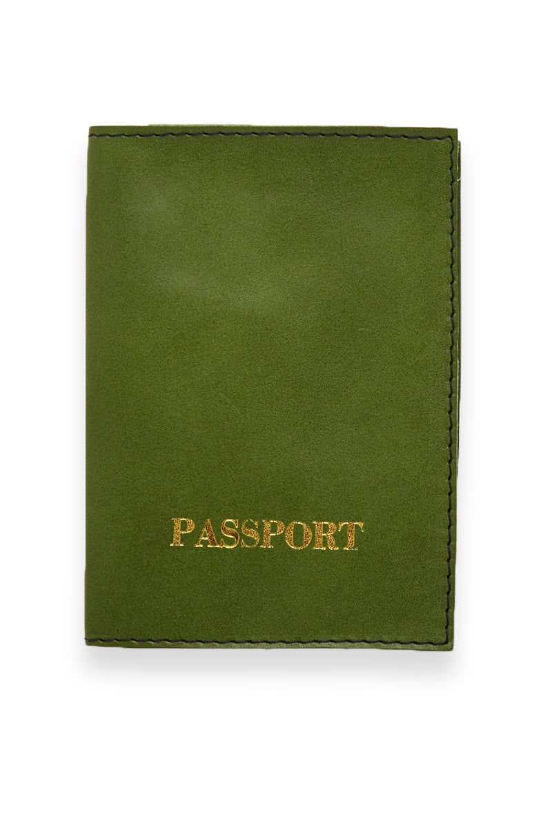 BLYTHE LEONARD Green Passport Cover - Green/Gold Accessories | Green/Gold| Blythe Leonard Green Passport Cover - Green/Gold